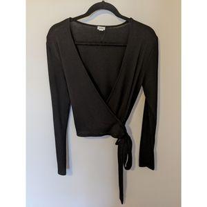 Garage Black Knit Wrap Long Sleeve Top w/ Tie, L